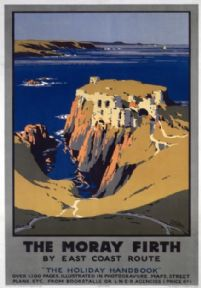 The Moray Firth, Scotland, Railway Travel Poster, Findlater castle, LNER, Coastal Scene